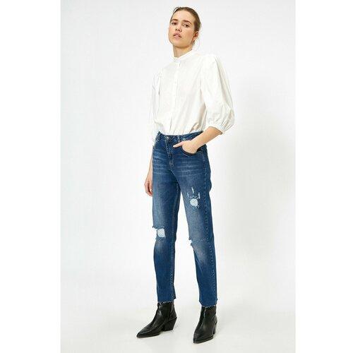 Koton Ženske tamne hlače Indigo plave boje bijela  Cene