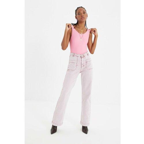 Trendyol Ružičaste detaljne traperice s džepom sa širokim nogama i visokim strukom 90 -ih  Cene