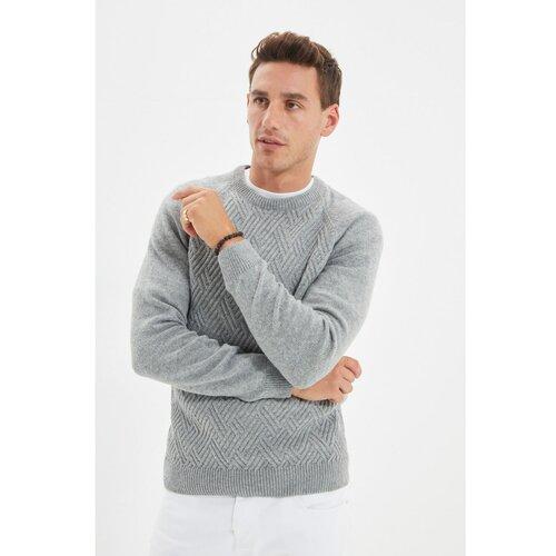Trendyol Sivi muški pleteni džemper od tankog kroja s raglan rukavima s teksturom i teksturom Slike