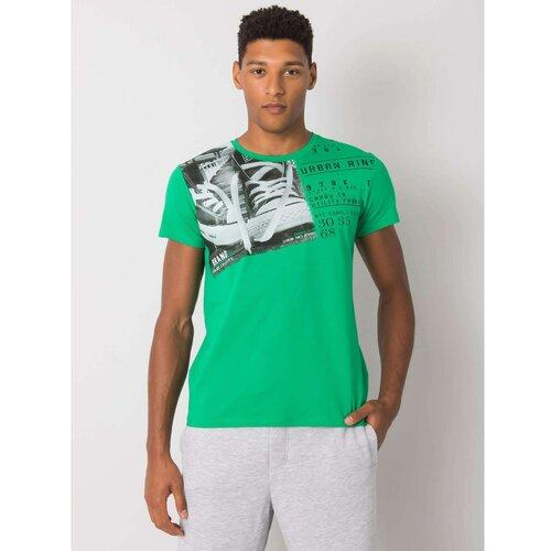 Fashionhunters Tamnozelena pamučna muška majica sa okruglim izrezom  Cene