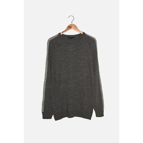 Trendyol Sivi muški tanki džemper s tankim krojem s ramenom bojom u boji  Cene