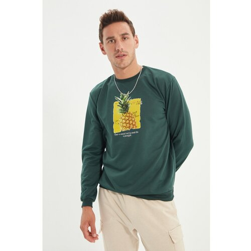 Trendyol Smaragdno zelena muška redovita fitnes dukserica  Cene