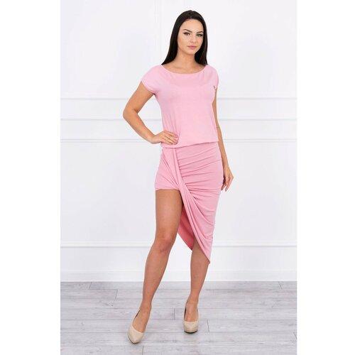 Kesi Asimetrična haljina u prahu roza crna pink  Cene