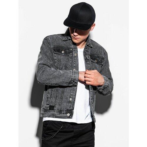 Ombre Muška jakna Denim C441 crna bijela | siva  Cene