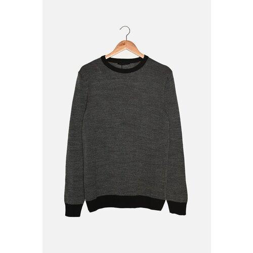 Trendyol Antracitni muški tanki džemper s tankim krojem s kontrastnom bojom u kontrastnoj boji  Cene