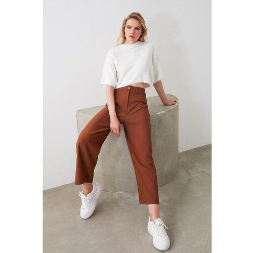 Trendyol Ženske jednobojne krem hlače tamno crvena  Cene