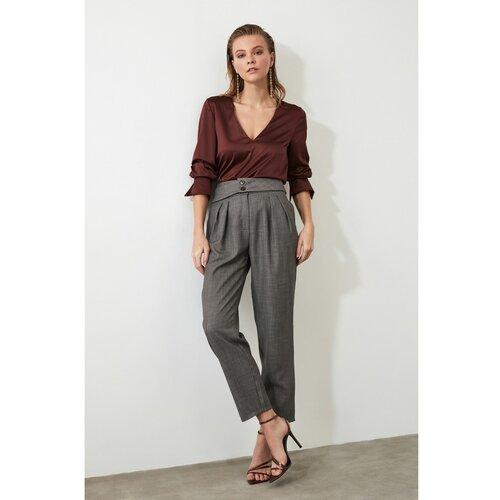 Trendyol Ženske pantalone Textured siva | braon  Cene