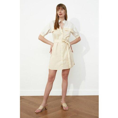 Trendyol Haljina od košulje s kamenim pojasom bela | krem  Cene