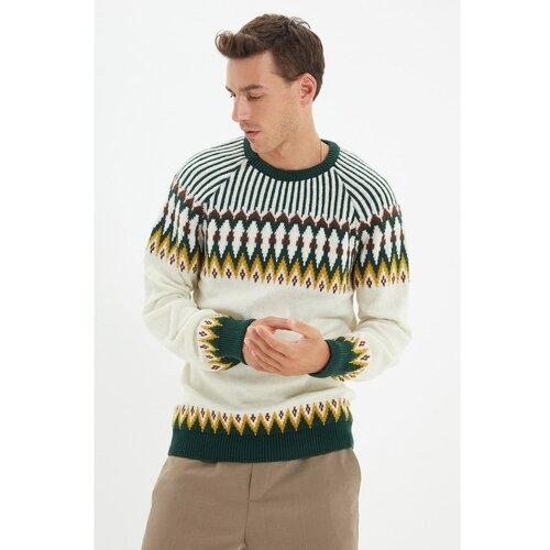 Trendyol Bež muški pleteni džemper s tankim krojem sa žakardovim panelom i tankim krojem  Cene