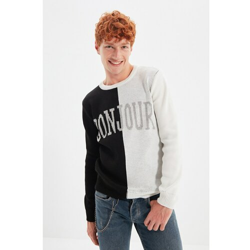 Trendyol Crni muški pleteni džemper s ogrlicom s tankim krojem, oklopljen sloganom  Cene
