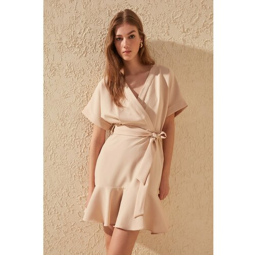 Trendyol Ženska smeđa haljina sa pojasom krema  Cene