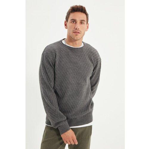 Trendyol Sivi muški džemper s reljefom s teksturiranim vratom Slike