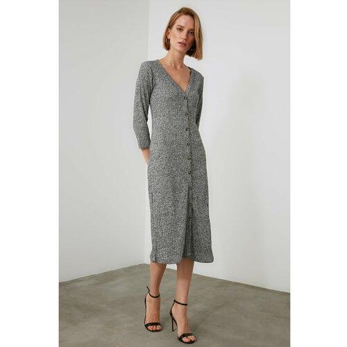 Trendyol Midi pletena haljina sa sivim gumbima siva  Cene