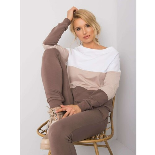 Fashionhunters Ženska trenerka- komplet Striped siva | braon | narandžasta  Cene