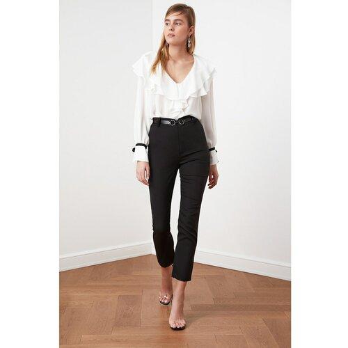 Trendyol Pantalone s crnim pojasom siva  Cene