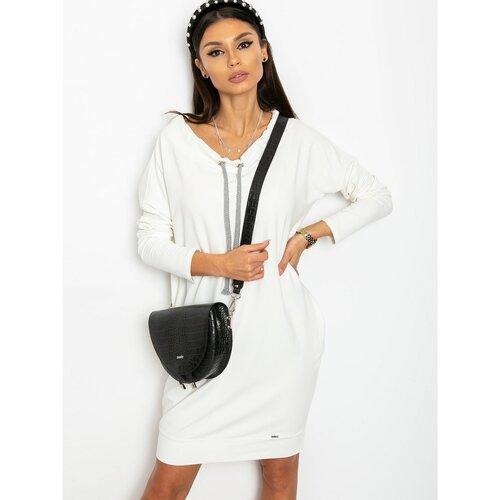 Fashionhunters Ecru dukserica haljina crna | bela  Cene