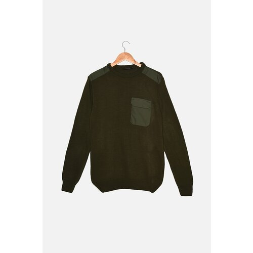 Trendyol Khaki muški pleteni džemper s tankim krojem s grlom za vrat  Cene