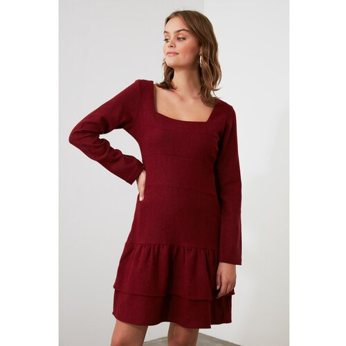 Trendyol burgundska haljina s zamašnjakom s kvadratnim vratom  Cene