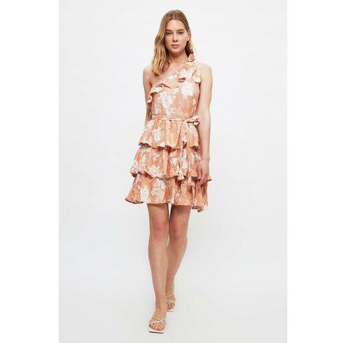 Trendyol Višebojna haljina za jedno rame s pojasom | | smeđa | pink  Cene