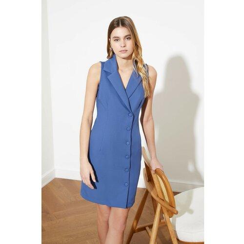Trendyol Ženska detaljno plava haljina s gumbima Slike