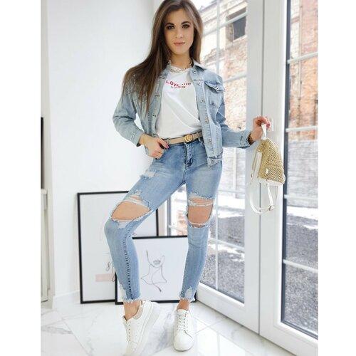 DStreet Ženske traper hlače ALABAMA svijetloplava UY0719 siva  Cene