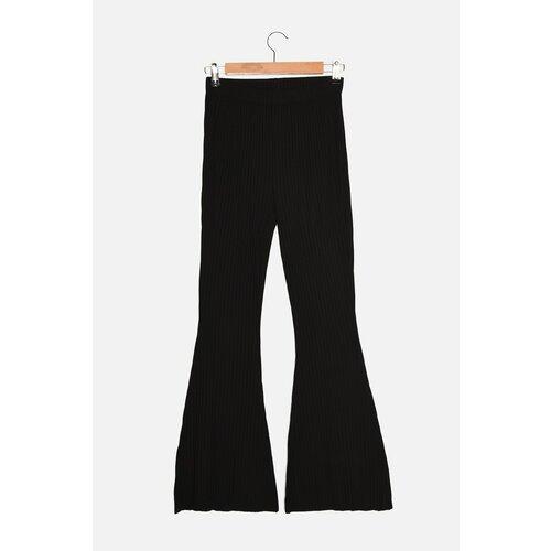 Trendyol Crne pletene pantalone sa rebrima  Cene