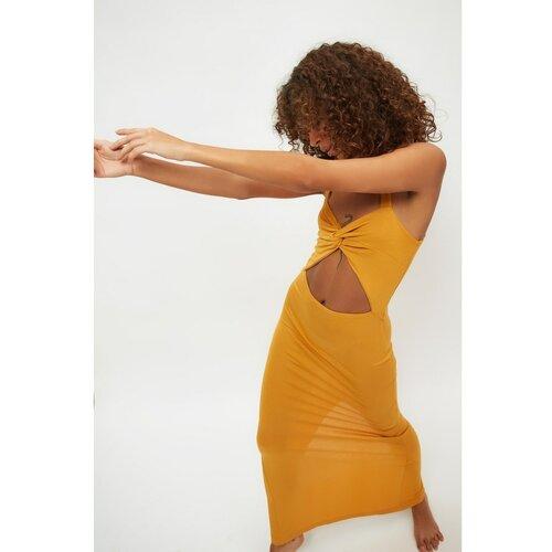 Trendyol Senf izrezana Detaljna pletena haljina za plažu od viskoze braon | narandžasta  Cene