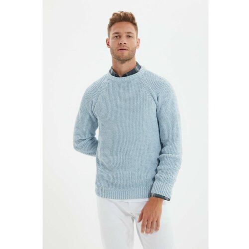 Trendyol Svijetloplavi muški džemper regularnog kroja s muškim vratima  Cene