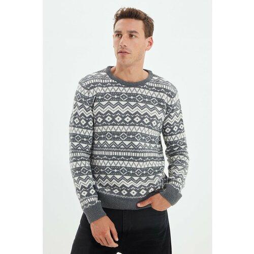 Trendyol Sivi muški džemper od žakard pletene odjeće s izrezom za muškarce  Cene