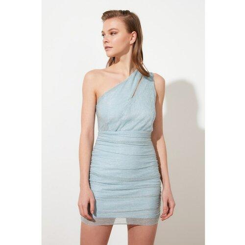 Trendyol Blue Glow Drop detaljna haljina siva  Cene