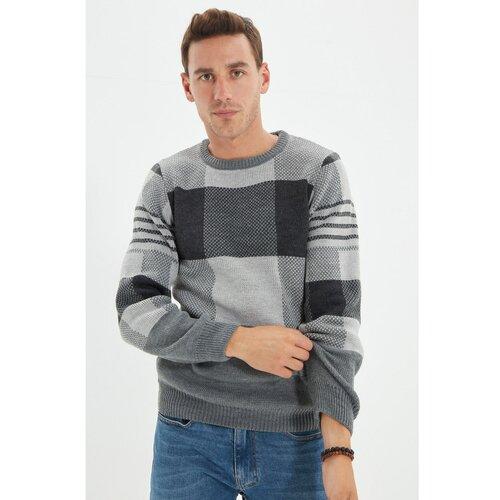 Trendyol Antracitni muški pleteni pleteni džemper s tankim krojem i tankim rukavom  Cene