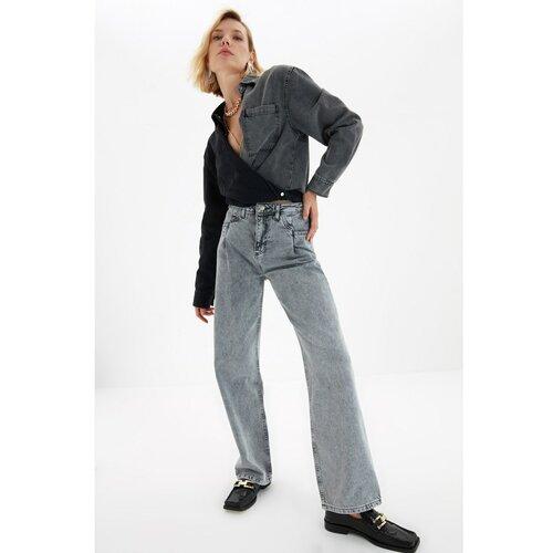 Trendyol Sive džepne traperice s detaljima sa širokim nogama i visokim strukom 90 -ih Slike