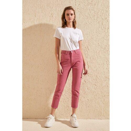 Trendyol Ženska farmerice High Waist bela | ružičasta  Cene