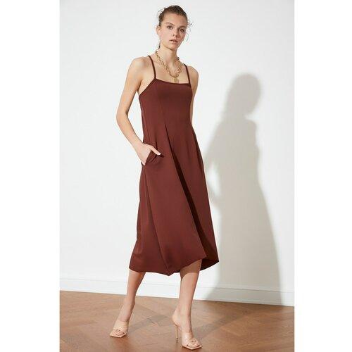 Trendyol smeđa leđa detaljna pletena haljina  Cene