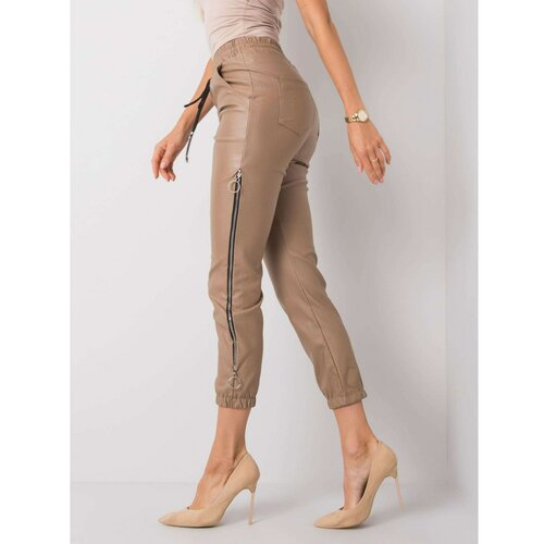 Fashionhunters Tamno bež, voštane pantalone  Cene