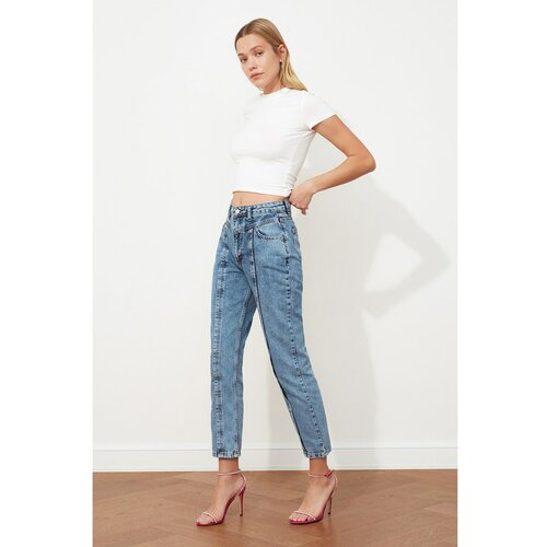Trendyol Mom Jeans sa visokim strukom plava | siva Slike