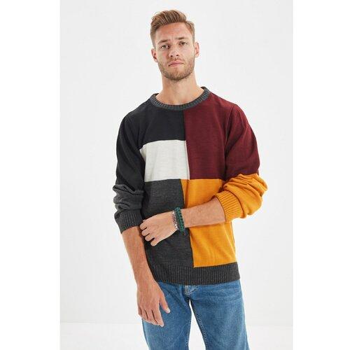 Trendyol Crno -crveni muški pleteni džemper s tankim krojem s tankim otvorom i vratom  Cene