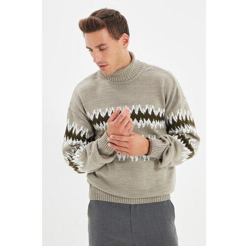 Trendyol Kameni muškarci žakardni džemper regularnog kroja sa kornjačom  Cene