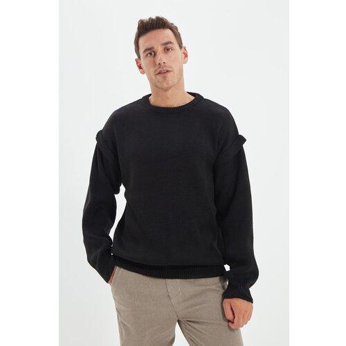 Trendyol Crni muški džemper s ogromnim izrezom oko vrata Slike
