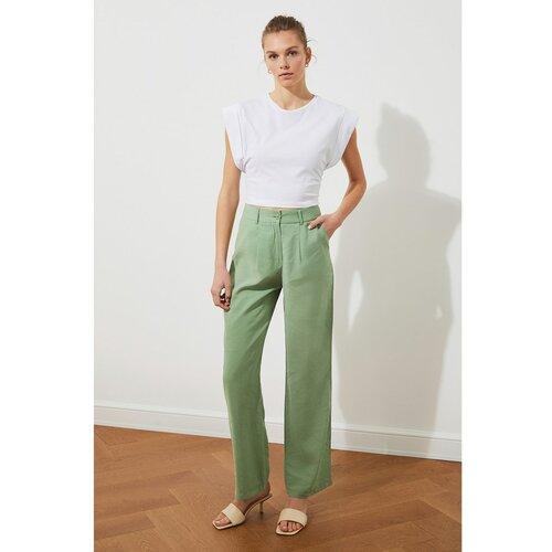Trendyol Mint hlače visokog struka sive boje kaki | svijetlozelena  Cene