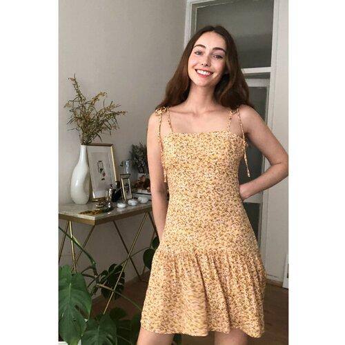 Trendyol Žuta haljina s remenom sa cvjetnim uzorkom | krem  Cene