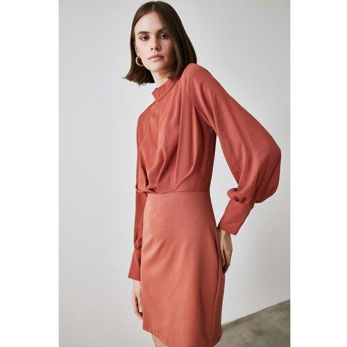 Trendyol Smuz haljina od prozirnog izreza za pločice smeđe boje krema | tamnocrvena | Crveno  Cene