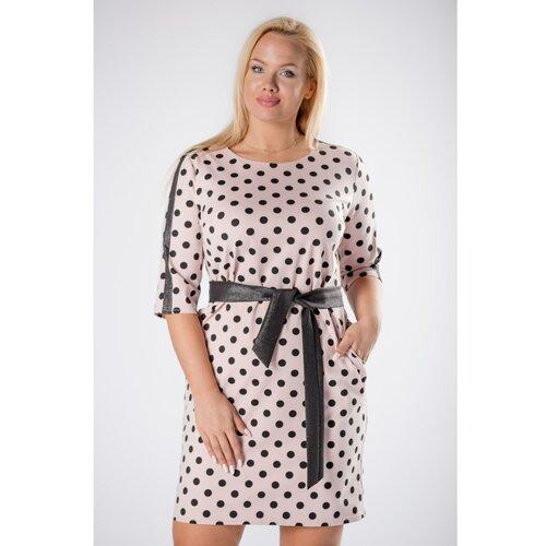 Ptakmoda opremljena haljina sa točkicama sa sjajnim prugama na rukavima i povezom u struku  Cene