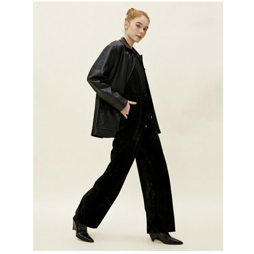Koton Ženske crne hlače od širokih nogavica od baršuna  Cene