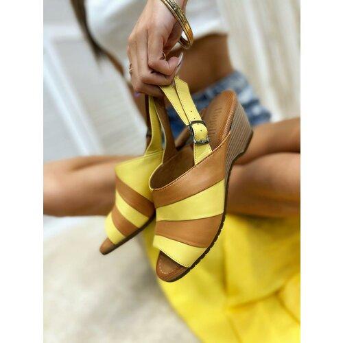 Hop Hop 16393 - kožne sandale breigh - žuta  Cene