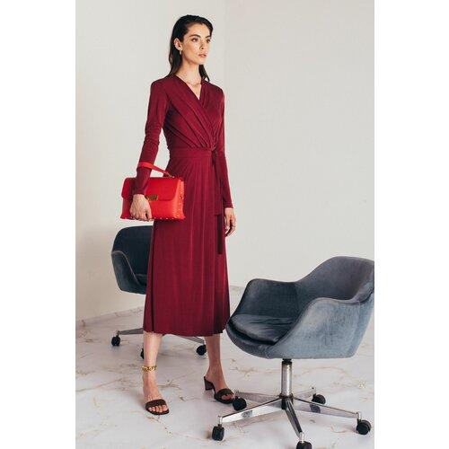Mona midi crvena haljina preklop 54115701-1  Cene