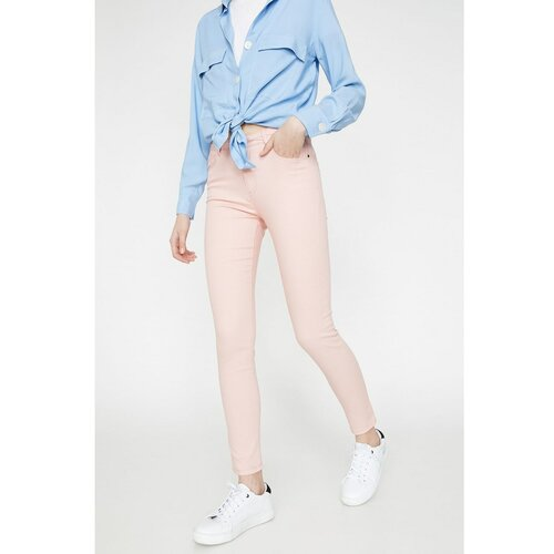 Koton Ženske roza tanke pantalone  Cene