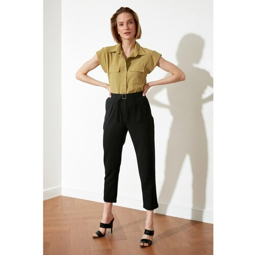 Trendyol Crne pantalone sa visokim strukom crne Slike