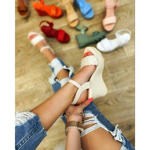 Hop Hop 15223 - pletene sandale na punu petu - bež  Cene