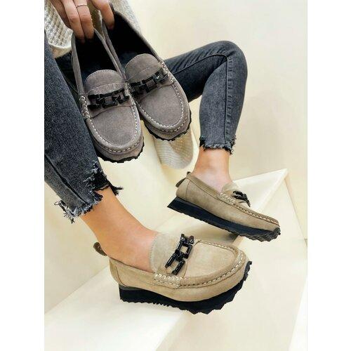 Hop Hop 17696 - kožne cipele amani - svetlo bež Slike